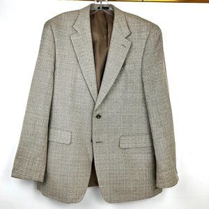 IZOD Silk Mens 40R Blazer Tan Sport Coat 2 Button